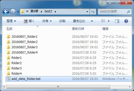 第8章 add_date_folder.batの実行結果