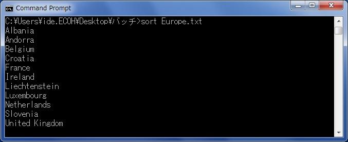 sort(ファイル・フォルダ名を並べ替える) ヨーロッパの国名(並び替え後)