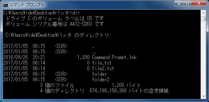 フォルダとファイルの一覧を表示 dirコマンド実行結果