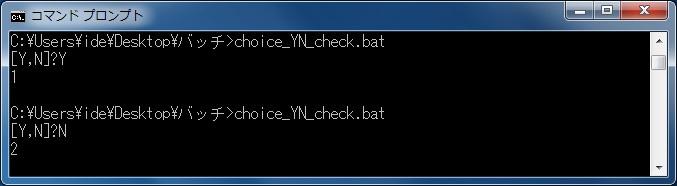 こちらで指定したキーのみ入力を受け付ける 「Y」もしくは「N」の入力時の変数「errorlevel」のチェック