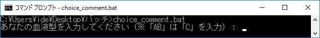 choice(指定したキーの入力を受け付ける) コメントを指定する